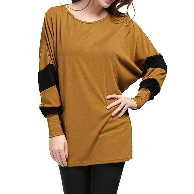 Koly Mujer relajarse Otoño e invierno Bat Sleeve Puntadas Manga larga O-cuello largo suelto T-shirt Tee Camiseta para Mujer Blusas de Mujer de Moda ...