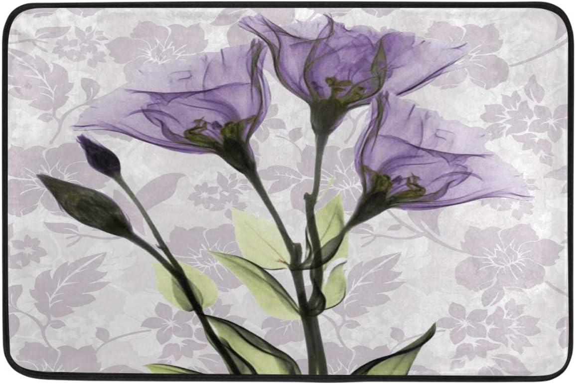 Vintage Art Purple Flower Door Mats Violet Lavender Flowers Floor Mat Indoor Outdoor Entrance Bathroom Doormat Non Slip Washable Spring Summer Floral Welcome Mats Home Decor 23.6 x 15.7 inch
