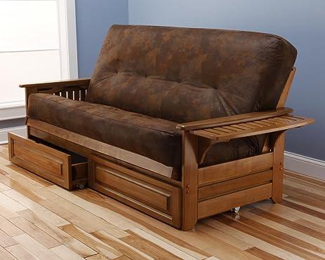 phoenix futon frame in butternut wood with innerspring palomino tobacco mattress  u0026 drawer set amazon    phoenix futon frame in butternut wood with innerspring      rh   amazon