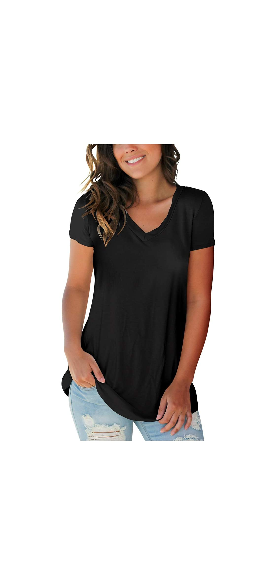 Women's Basic V Neck Short Sleeve T Shirts Summer Casual