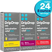 DripDrop ORS - Patented Electrolyte Powder for Dehydration Relief fast - For Heat Exhaustion, Hangover, Illness, Sweating, Wa