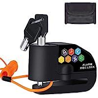 BangShou Candado de Disco con Alarma Dispositivos Antirrobo para Motos 110DB Candados para Bicicletas 7mm Candado Disco…
