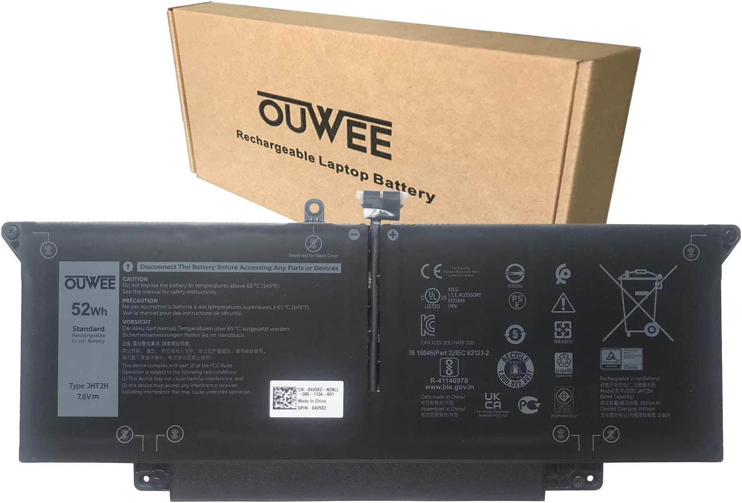 OUWEE JHT2H Laptop Battery Compatible with Dell Latitude 7310 7410 Series Notebook 04V5X2 0HRGYV Y7HR3 0WY9MP 7.6V 52Wh 6500mAh