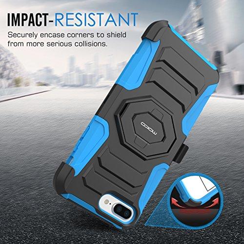 MoKo Hülle für iPhone 7 Plus - [Heavy Duty Serie] Outdoor Dual Layer Armor Case Handy Schutzhülle Schale Bumper mit Gürtelclip / Standfunktion für Apple iPhone 7 Plus 5.5 Zoll 2016 Smartphone, Blau