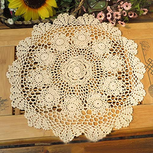Damanni Beige Cotton Handmade Crochet Lace Tablecloth Doilies Table Overlay,Round,16 Inch,2PCS