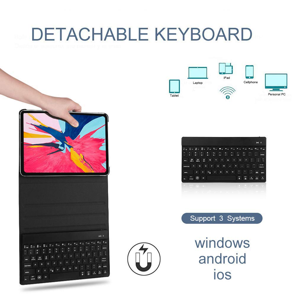 iPad Air 2//Air 1 Dingrich 9.7 Keyboard Case for New iPad 2018 iPad 2017,iPad Pro 9.7 7 Color Backlit Black Wireless Bluetooth Detachable Keyboard with Pencil Holder