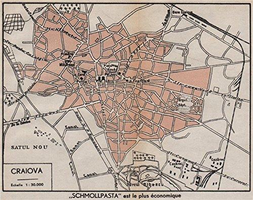 Amazoncom CRAIOVA vintage towncity plan Romania 1938 old map