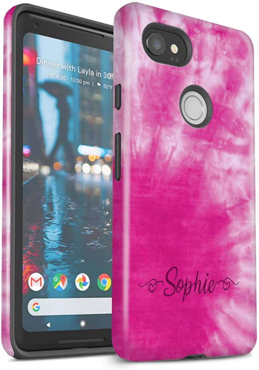 Amazon Com Personalized Custom Fabric Tie Dye Patterns Gloss Case For Google Pixel 2 Xl Pink Stylish Hearts Design Initial Name Text Shockproof Diy Cover