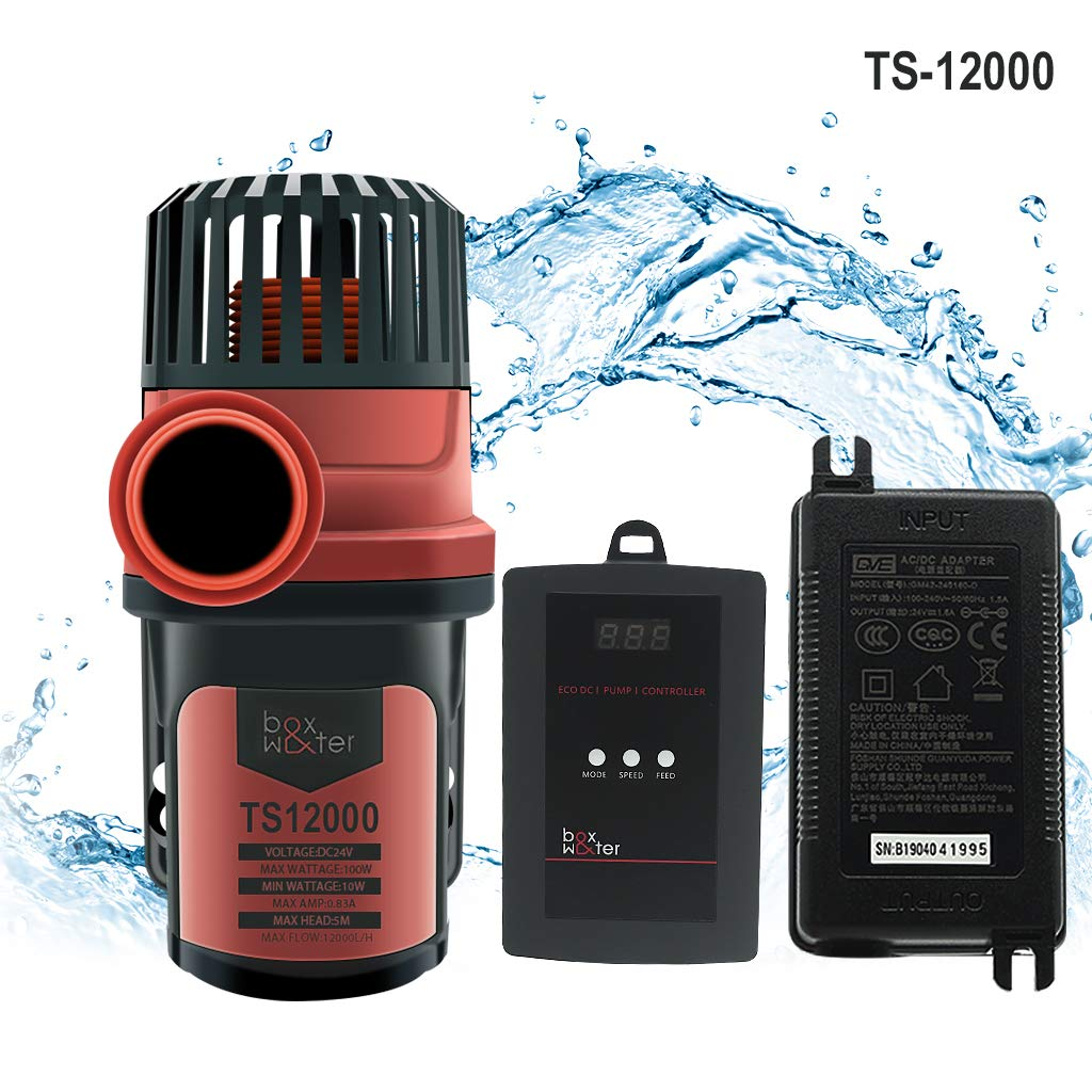 Upettools DC Marine Controllable Water Flow Pump Submersible Pump Super Mute Energy Saving Variable Frequency 24V Output Amphibious for Fish Tank Aquarium Pool 3170GPH.(12000L H)
