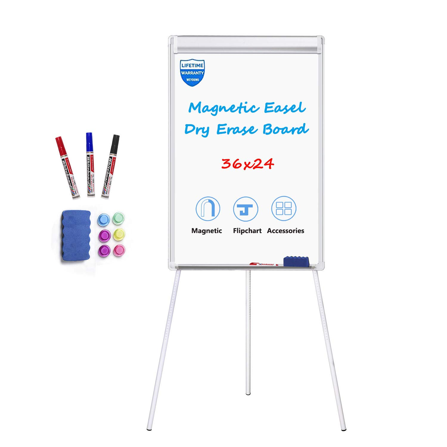 White Board Easel Stand Magnetic Whiteboard Flipchart Tripod Easel Height Adjustable Dry Erase Board with 1 Eraser, 3 Markers, 6 Magnets, 24x36 inches, White by WEYOUNG