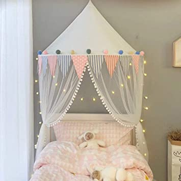 competitive price 36933 5f656 OldPAPA Bed Canopy Lace Mosquito Net with Gauze Curtain Unique Pendant Play  Tent Bedding for Kids...