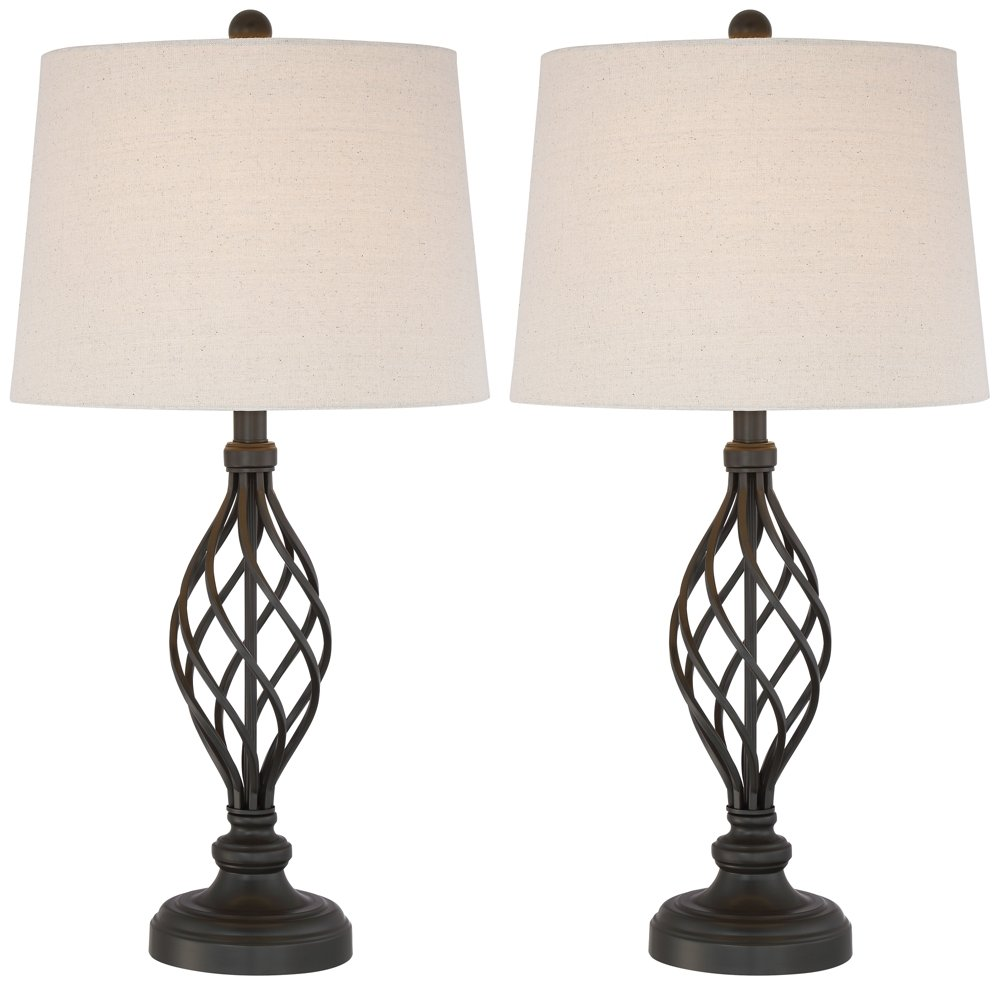 "Annie Traditional Table Lamps Set of 2 Bronze Iron Scroll Tapered Cream Drum Shade for Living Room Family Bedroom - Franklin Iron Works - Set of 2 lamps. Each is 28"" high overall. Bases are 6"" wide. Shades are 12"" across the top x 13 1/2"" across the bottom x 10"" high. Weighs 3.9 lbs. each. Each uses one maximum 150 watt standard-medium base bulb (not included). On-off socket switches. Set of transitional table lamps by Franklin Iron Works. - lamps, bedroom-decor, bedroom - 61dTVYj lNL -"