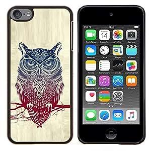 """Be-Star Único Patrón Plástico Duro Fundas Cover Cubre Hard Case Cover Para iPod Touch 6 ( Modelo fresco del búho detallada"""" )"""