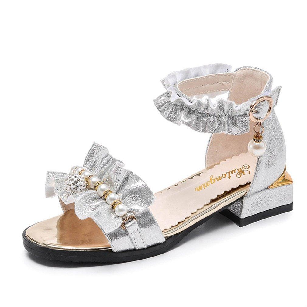 CYBLING Girls Dress Sandals Metallic Open Toe Outdoor Summer Flat Shoes (Toddler/Little Kid/Big Kid)