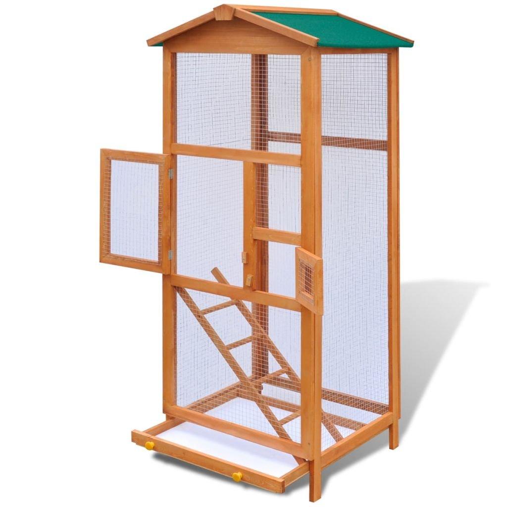 vidaXL Jaula de Pájaros de Madera de Exterior Casa para Animal ...