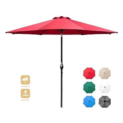 Flamaker 9 FT Patio Umbrella Tilts Outdoor Umbrella Picnic Table Umbrella Pool Umbrella for Garden, Deck, Backyard and Beach (Red) : Garden & Outdoor