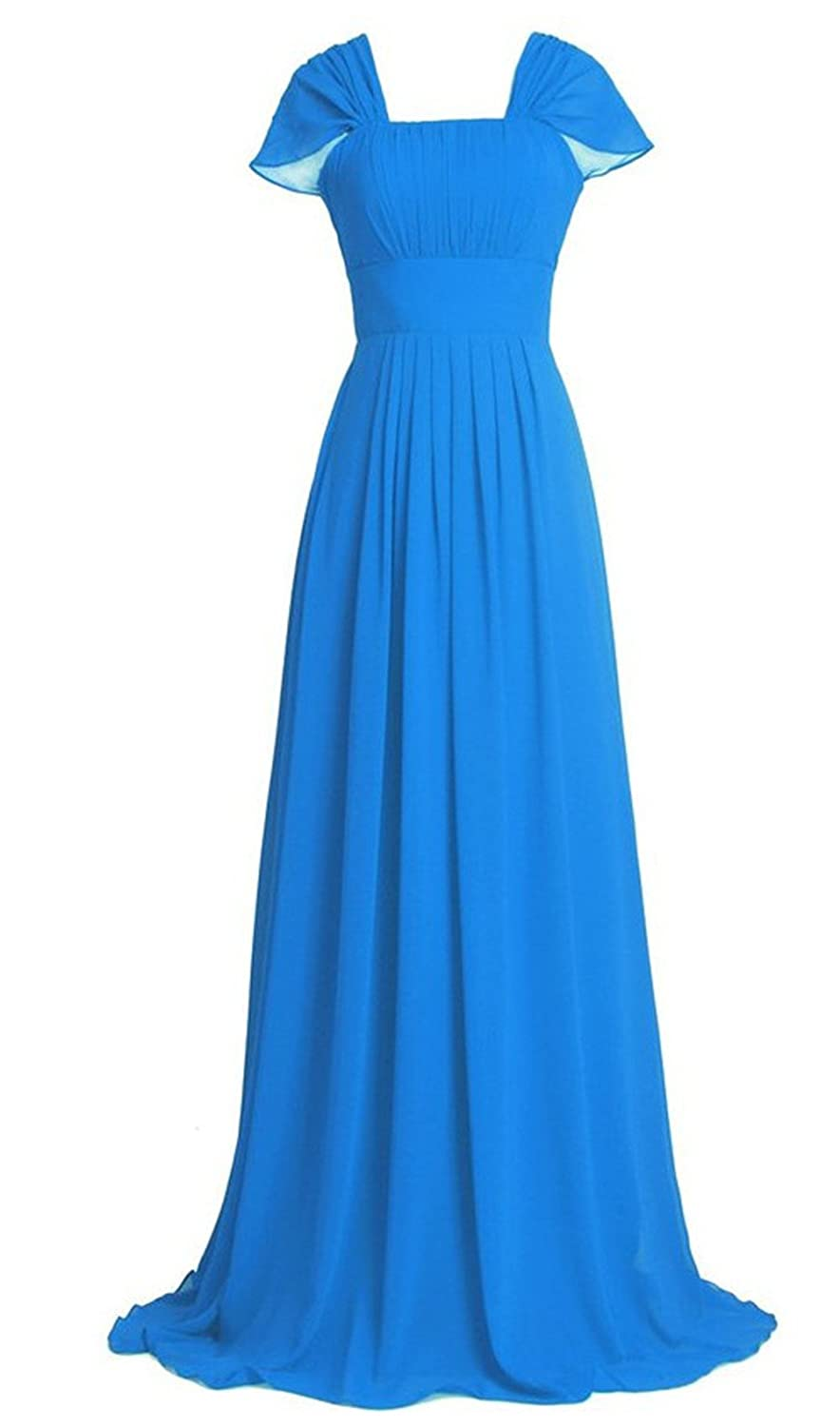 AngelDragon Simple Cap Sleeves Long Prom Dress Empire Evening Gowns