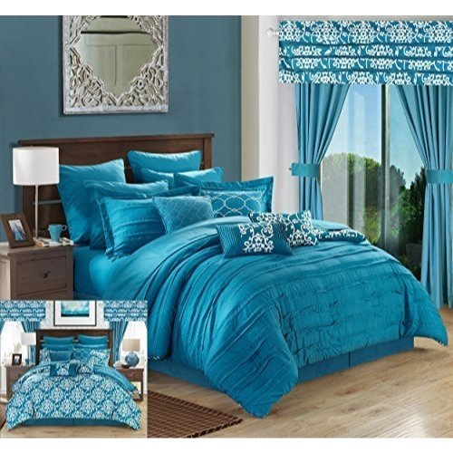 Comforter Sets Matching Curtains - Chic Home Hailee 24 Piece Comforter Set Complete Bed in a Bag Pleated Ruffles and Reversible Print with Sheet Set and Window Treatment, Queen, Teal