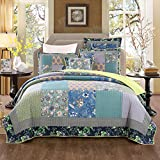 Tache Home Fashion Bohemian Tropical Calla Lily Patchwork Quilted Coverlet Bedspread Set - Bright Vibrant Multi Colorful Navy Blue Green Yellow Floral Print -Queen - 3-Pieces