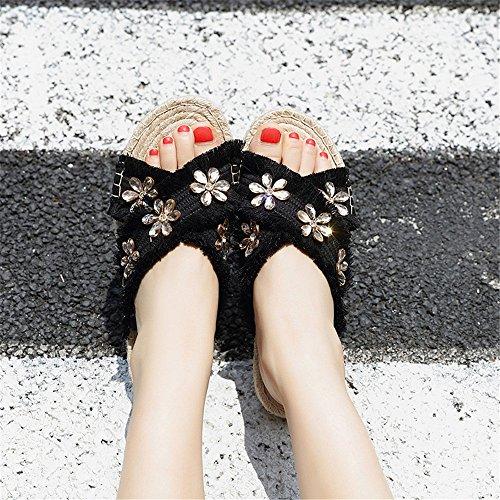 d'été EU Color Black Angel d'été Pantoufles 40 de Les Size Color de Apricot beauty love Femmes d'orteil Pantoufles pour des de Madame Confortables d'intérieur Plage wpqPUwgS