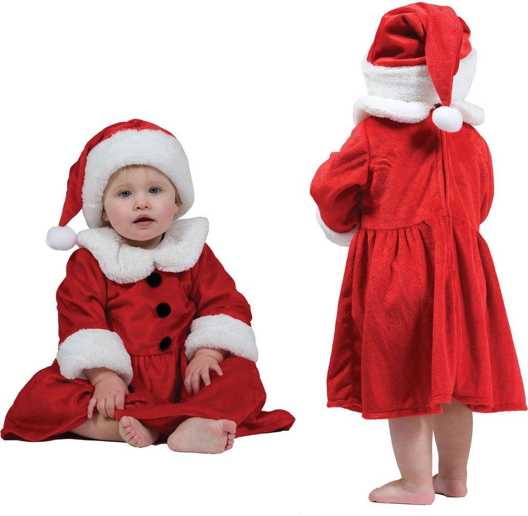 Karneval-Klamotten Weihnachtskostüm Weihnachtskleid Baby Mädchen mit Weihnachtsmütze Baby-kostüm Größe 92 70001-Funny Fashion