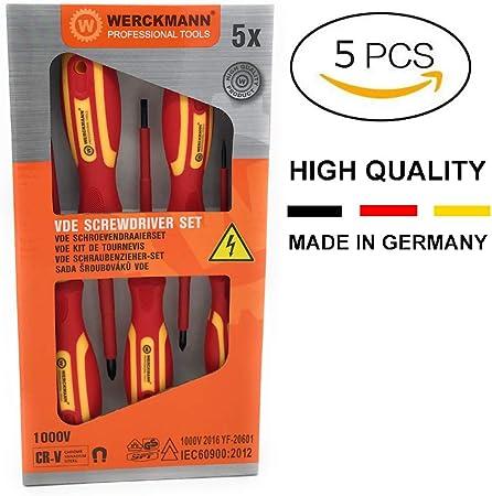 WERCKMANN   Lot de 5 Tournevis Électricien VDE   Isolés 1000V   Poignée Ergonomique   Traitement Magnétique   Qualité Allemande   Plats: 3x75mm,