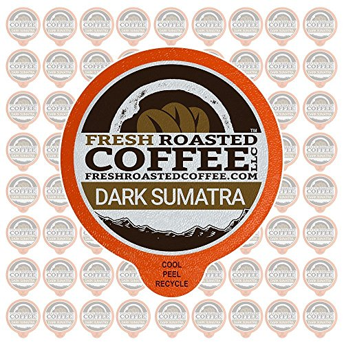 Fresh Roasted Coffee LLC, Dark Sumatra Mandheling Coffee Pods, Dark Roast, Single Origin, Capsules Compatible with 1.0 & 2.0 Single-Serve Brewers, 72 Count ()