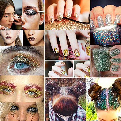 Allwon Body Glitter Cosmetic Makeup Eyeshaodw Glitters for Face Body Hair Nail Art,12pcs