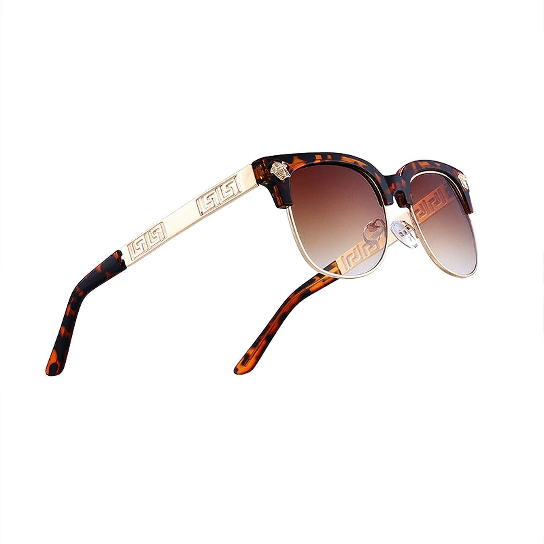 Leopard X Brown VITRU Medusa  Retro Rivet Sunglasses