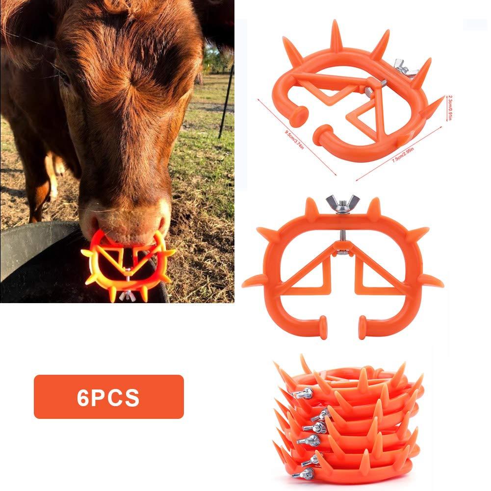 6 Pcs Cow Nose Ring,Acogedor Farm Animal Calf Weaner Ring,Non-Toxic,Livestock Equipment by Acogedor