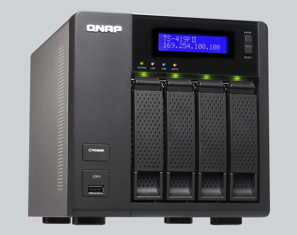 QNAP TS-419P II (Diskless) 4 Bay All-in-One Desktop Turbo NAS Server for  Home and SOHO