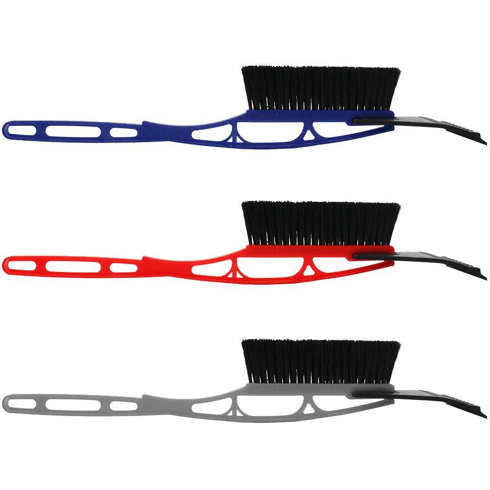 com-four® Rascador de Hielo 2X de plástico con Labio de Goma y Escoba (02 Piezas - con Escoba)