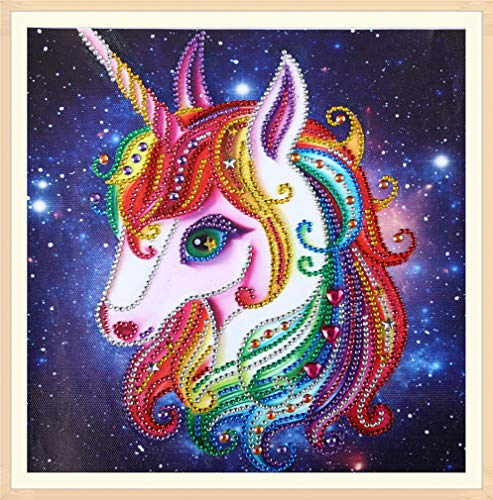 Diamond Painting DIY 5D Special Shape Rhinestones, ABEUTY a Cute Colorful Unicorn Art, Partial Drill Crystal Diamond Dotz Kits