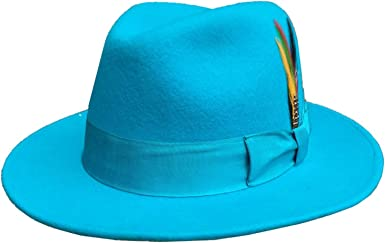 WHITE /& BLUE LIGHTWEIGHT SUMMER FEDORA HAT WITH BELT STYLE BAND