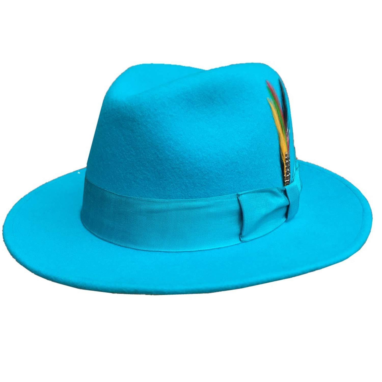 Classic Light Blue Classic Men Wool Felt Fur Fedora Hat Godfather Hat