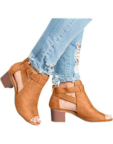 198f90b6222 Xinantime Womens Cutout Booties Open Toe Slip On Chunky High Block Heel  Pumps Ankle Boots Sandals
