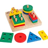 Wooden Preschool Geometric Shapes Sorting Board Educational Blocks Puzzle Toys for Kids