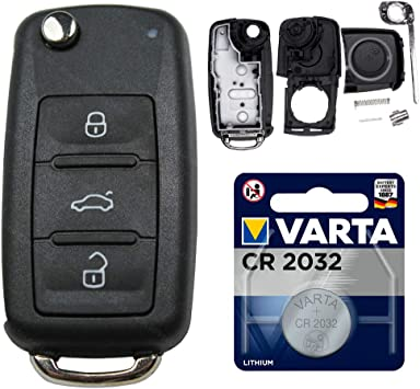 Klappschlüssel 3 Tasten Gehäuse Autoschlüssel Batterie passend für VW Skoda Seat