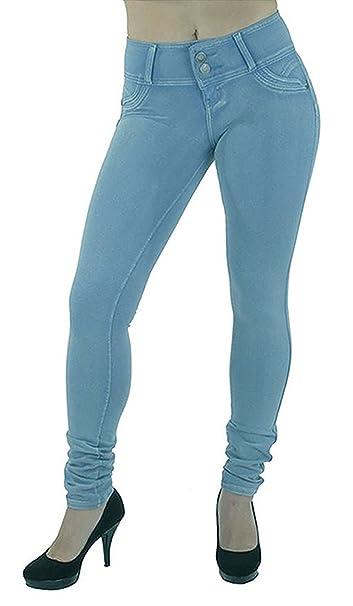 9211bda4ce9ec Minetom Mujer Otoño Invierno Pantalones Skinny Jeans Flacos de Cintura Alta Leggings  Elásticos Slim Pantalones  Amazon.es  Ropa y accesorios