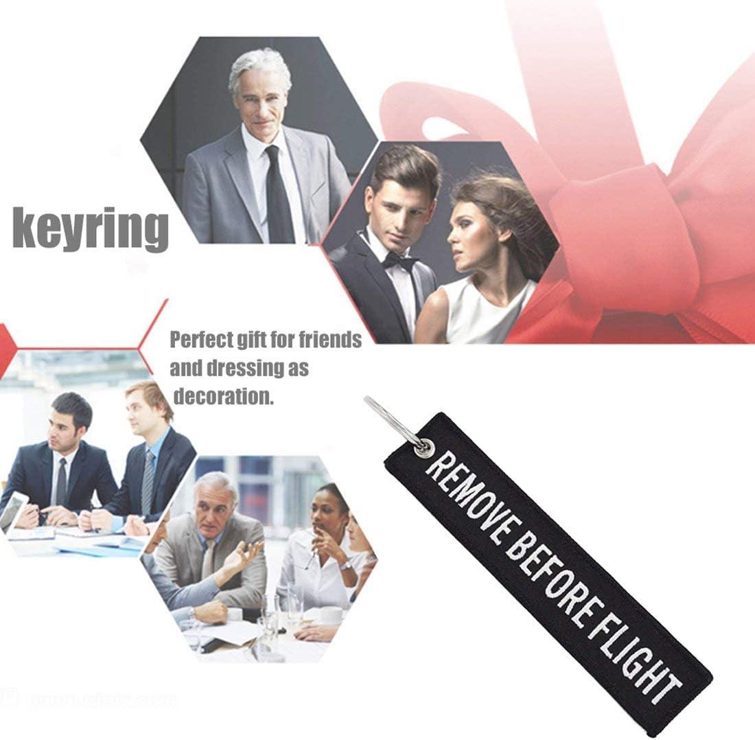 Formulauff Enlevez Avant la cl/é de vol la cl/é de Broderie Key Finder pour Les Voitures daviation Tag Key Chain Cadeau dentreprise Noir