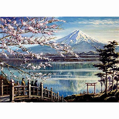 Tacori Baguette Ring - Rakkiss 5D Diamond Painting Rhinestone Dream Cherry Blossoms Lake Surface Snow Mountain Embroidery Wallpaper DIY Cross Stitch Kit Crystal Full Drill Drawing for Adult Tools Home Decoration 30x40cm