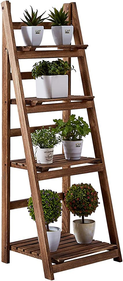 Amazon Com Rhf 45 Foldable Plant Shelf Plant Stand Indoor Flower Pot Stand Flower Pot Ladder Folding A Framde Display Shelf Free Standing Patio Rustic Wood Stand With Shelves Outdoor Pot Rack