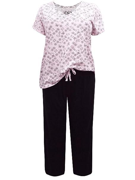 269df51cf11 Ex Evans Ladies Plus Size Floral Print Curve PJ Set Short Sleeve Pyjamas  Pjs Nightwear Lounge Wear (18-20)  Amazon.co.uk  Clothing
