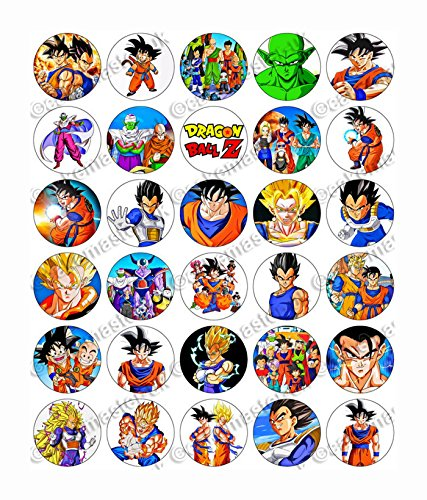 30 x Edible Cupcake Toppers – Dragon Ball Z Themed Collection of Edible Cake Decorations for Girls| Uncut Edible Prints on Wafer Sheet - BUY 2 GET 3RD FREE