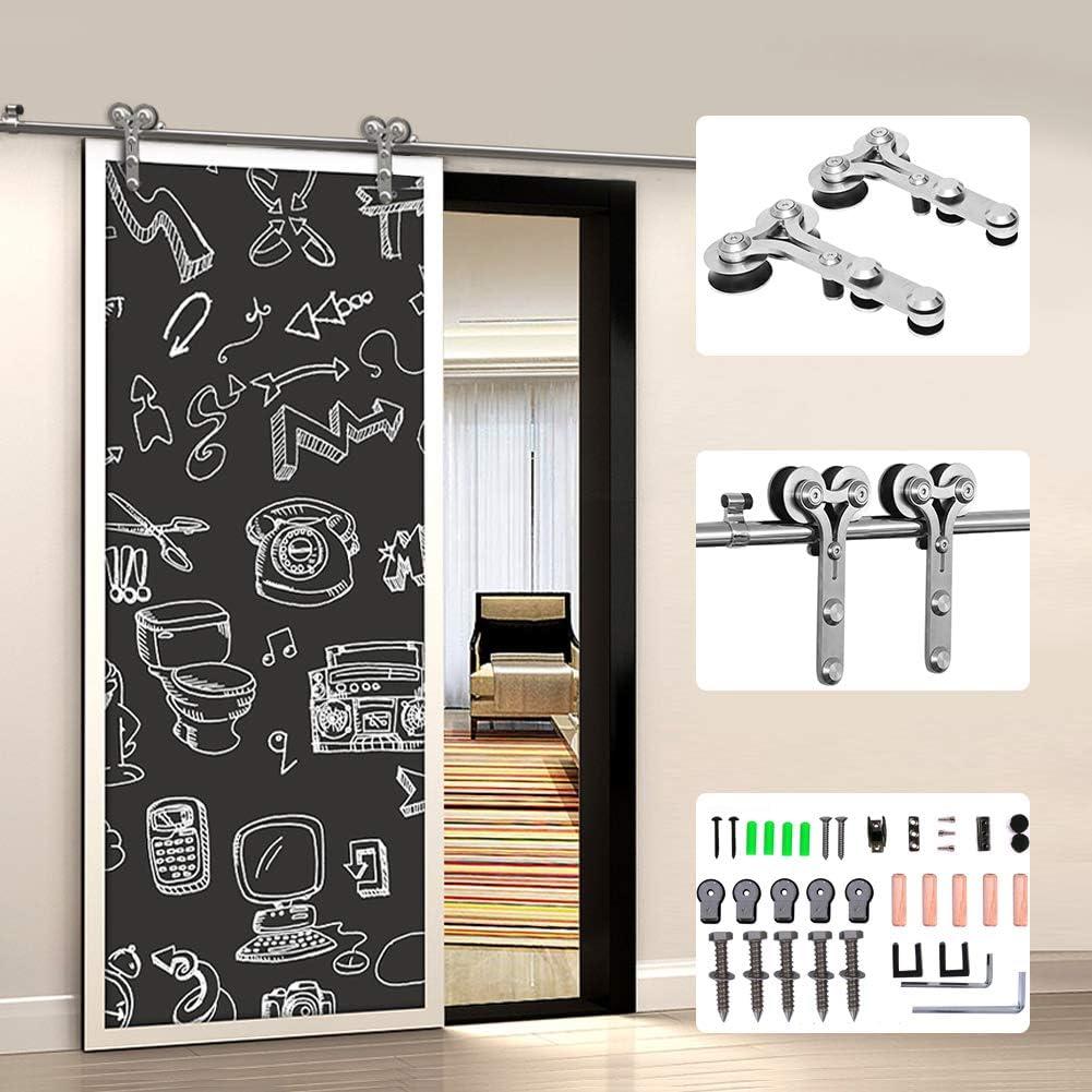 201CM/6.6FT Herraje para Puerta Corredera Kit de Accesorios para Puertas Correderas Juego de Piezas de acero inoxidable Carril para Puerta Deslizante,para puerta de madera/puerta de cristal Y Shape: Amazon.es: Bricolaje y herramientas