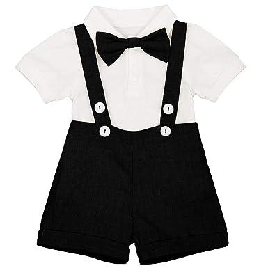 63d35e7ac Toddler Baby Boys Gentleman Summer Suits Set Bowtie One-Piece Shirt Romper  Bodysuit Bib Shorts