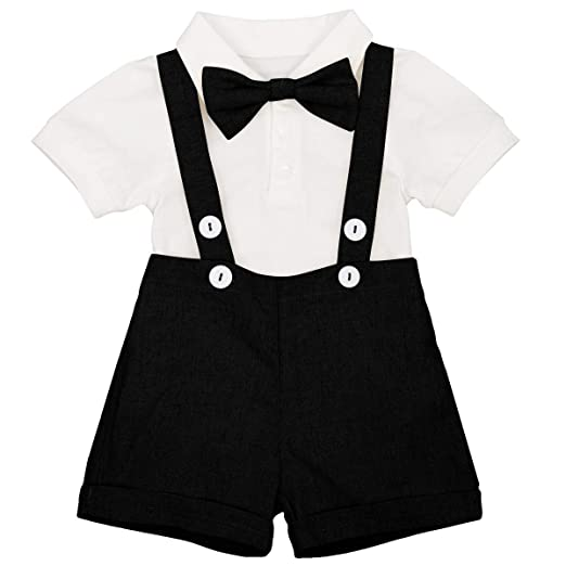 ae094cea82f15 Newborn Baby Boys Formal Suit Gentleman Tuxedo Outfit Bow tie Romper  Jumpsuit Overalls Suspenders Cotton Birthday