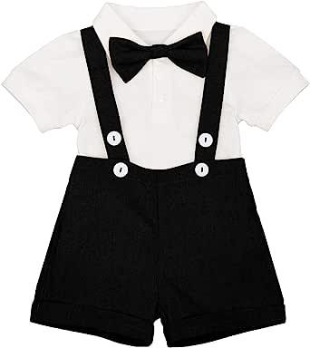 IMEKIS Baby Boys Formal Suit Gentleman Bowtie Romper Suspenders Shorts Wedding Tuxedo Outfit Cake Smash Christening Clothes