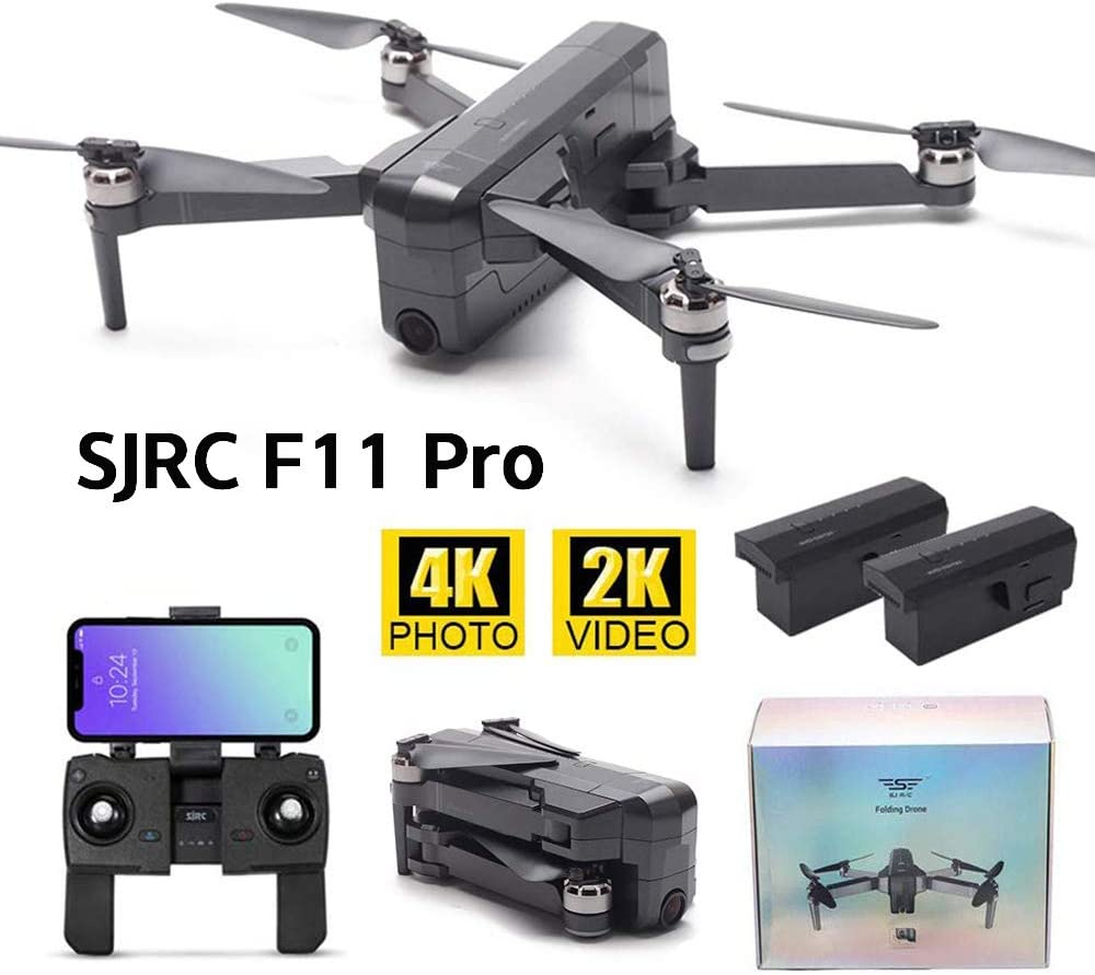 F11 Pro + 2 Battery MOSTOP SJRC F11 Pro RC Drone 5G WiFi FPV GPS RC Drone Foldable 2K Camera Record Video App Control iOS Android One-Key RTH Follow Me 3D Visual Track Flight Headless