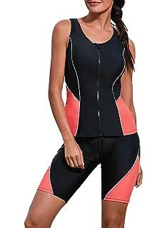 e4702d6194ec4 Dearlove Women Zipper Color Block Racerback Tankini Swimsuit with Swim  Capris